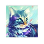 Fineser(TM) 5D Embroidery Paintings Rhinestone Pasted DIY Diamond painting Cross Stitch Cat B