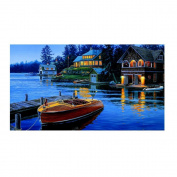 UHBGT Full Drill Blue Lake DIY Artificial Diamond Embroidery Cross Stitch Painting Decor