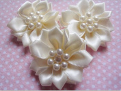 YYCRAFT Pack Of 30 Satin 3.8cm Ribbon Flower/Pearls Craft Bow-ivory