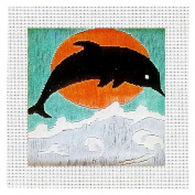 Long Dolphin Design Decor Craft Material Supplies Thread Embroidery Quick Stitch Kit For Beginner Activity DIY Project