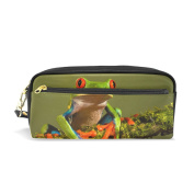 Pencil Case Hmbrothers Stylish Print Frog Pattern Large Capacity Pen Bag Makeup Pouch Durable Students Stationery Two Pockets With Double Zipper
