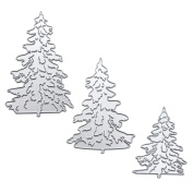 3 PCS Carbon Steel Christmas Tree Embossing Cutting Dies Stencils Templates Mould Set for DIY Scrapbooking Album Paper Card