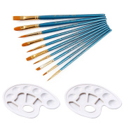 10pcs Professional Nylon Hair Round Pointed Tip Paint Brush Set Painting Supplies with 2pcs Painting Tray Palettes