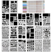 COCODE 20 Pcs Bullet Journal Stencil Set Plastic Planner Stencils and Metallic Marker Pen Set for Journaling, Scrapbooking, Notebook, Card and Art DIY Projects Drawing Template Stencil 10cm x 18cm