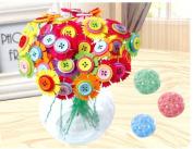 3D DIY Hand-made button flower button flower diy child kindergarten parent-child hand-button painting three-dimensional regional