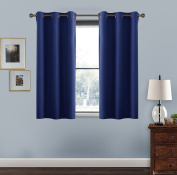 Windows Treatment Eyelet Blackout Curtains - PONY DANCE Thermal Insulated Top Chrome Ring Blackout Curtains for Bedroom / Room Darkening & Energy Saving, Set of 2, Width 110cm x Depth 110cm , Navy Blue