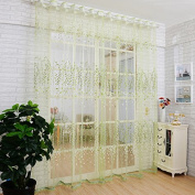 1M*2M Romantic Curtains Voile Tulle Flower Door Valances Panel Window Balcony for Home Decor