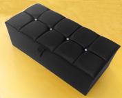 Large & Medium Faux Leather 4 Crystal Diamante Ottoman Storage Blanket Toy Box
