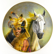 "Gregory Perillo Collectors Plate - AUTOGRAPHED Chieftain Series Native American Indian Plate ""CHIEF CRAZY HORSE"" c1980 COA NIB"