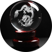 Crystal Ball with wood stand,debous 80mm 3 inch High Clear Quartz Crystal Ball with a 3D Inner Carving Dragon inside