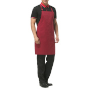 Aspire Adjustable Bib Apron with 2 Pockets Solid Colour Cooking Kitchen Couple Aprons for Women Men Chef-Burgundy-1 pack