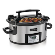 Crock-Pot 5.7l Portable Slow Cooker in Stainless Steel/Black
