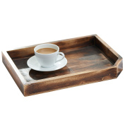 Vintage Wooden Coffee Table Display Tray / Wood Magazine and Document Holder, Dark Brown