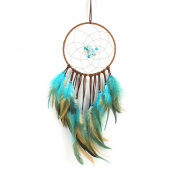 Bohemian Style Turquoise Dream Catcher Handmade Feather Wall Hanging Ornament Decoration for Room Christmas ~ Length 50cm Diameter 15cm