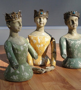 Three Kings / Queens Bust Cottage Chic Statues Jewel Metal Crown Santos Catholic