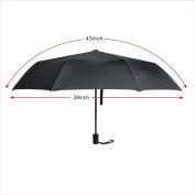 EXCEL-LEADER Unbreakable Windproof Golf Umbrella,8 Rib Frame Automatic & Convenient Compact One Hand Auto Open & Close Folding Umbrella,Black