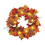 Lighted Autumn Orange Fall Leaves and Songbirds Door Wreath 46cm
