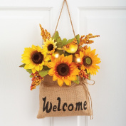 Lighted Sunflowers In Burlap Bag Door Decor