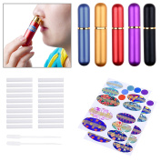 Kare & Kind Inhaler Tubes- Aluminium and Glass - For DIY Essential Oil Aromatherapy Use - Refillable - 5 elegant inhaler tubes, 25 wicks, 1 opening tool, 78 writable stickers, 2 mini droppers