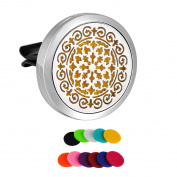 HooAMI Flower Car Air Freshener Aromatherapy Essential Oil Diffuser - 316L Surgical Stainless Steel Locket With Vent Clip