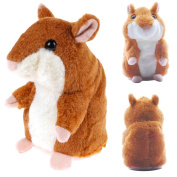 Grey Hamster Electronic Hamster The Talking Hamster Toy Repeats What You Say Mimicry Hamster Plush Animal Toy for Boy and Girl Birthday Christmas Gift