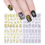 CoulorButtons 12 Sheets Gold Silver 3D Metallic Hollow Nail Art Stickers Manicure Nail Art Decoration
