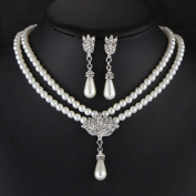 Iumer Rhinestone Earrings Crystal Pendant Necklace Bridal Jewellery Set