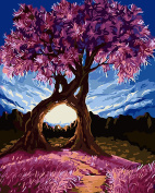 TianMai Paint by Number Kits - Purple Exotic Trees Millennium Love 41cm x 50cm Linen Canvas Paintworks - Digital Oil Painting Canvas Kits for Adults Children Kids Decorations Gifts