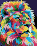 TianMai Paint by Number Kits - Multicolor Lion 41cm x 50cm Linen Canvas Paintworks - Digital Oil Painting Canvas Kits for Adults Children Kids Decorations Gifts
