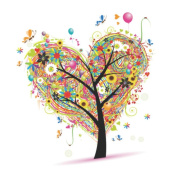 Wowdecor Paint by Numbers Kits for Adults Kids, Number Painting - Heart Tree 41cm x 50cm