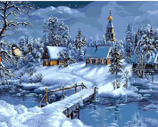 Christmas Snow Landscape DIY Painting By Numbers Handpainted Canvas Painting