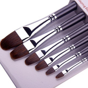 6Pcs Different Sizes Weasel Hair Filbert PaintBrush Set For Acrylic Oil Gouche and Watercolour Painting Wooden Long Wooded Handle Environmental