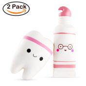 BeYumi Slow Rising Squishy, 1 Pcs Smiley Tooth & 1 Pcs Cartoon Toothpaste Cream Scented Rebound Stress Reliever Toys Charms Soft Squishy Toy