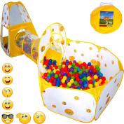 Playz 3pc Emoji Toys Kids Pop Up Play Tent Crawl Tunnel & Ball Pit with Basketball Hoop Playhouse for Boys, Girls, Babies, and Toddlers - Indoor & Outdoor Use w/ Zipper Storage Case