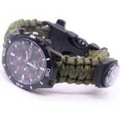Dreamyth Outdoor New Survival Watch Bracelet Paracord Compass Flint Fire Starter Whistle