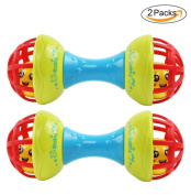 Aibearty 2pcs Baby Shakers Rattle Dumbbell Toys Infants Musical Gift