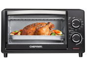 Chefman Countertop Toaster Oven, 4 Slice Toast, Bake and Broil Fuctions, Black - RJ25-4-CL