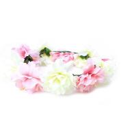 Techinal Flower Wreath Headband Crown Floral Garland Boho for Wedding Party
