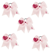CN 18cm Breast Cancer Awareness Cheer Bow Large Hair Bow With Ponytail Holder Hair Band For Breast Cancer Month
