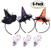 3 Pack Halloween Headband+3 Pcs Hair Clip,Fascigirl Halloween Party Witch Spider Hat Headbands Caps Headband Accessory For Party & Halloween & Carnivals