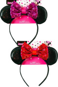 Minnie Ear Shaped Headband with Sequence Bow, 2pk