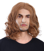 Men's Natural Long Wavy Brown Wig for Costume, Party, Photography, Brown