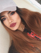 Musegetes Synthetic Lace Front Wigs Straight Ombre Brown Colour Lace Front Synthetic Wigs Long Heat Resistant for Black and White Women HS0001