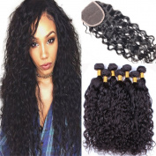 Ali Moda Hair 18 20 20 with 41cm Malaysian Water Wave 3 Bundles with Closure Unprocessed Virgin Hair Weave Weft