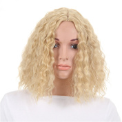Short Women's Kinky Curly Wigs Wavy Curly Heat Resistant Fibre Wig Light Blonde Wigs