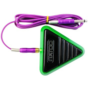 """ITATOO TATTOO Green Tattoo Foot Switch Triangle Tattoo Foot Pedal for Tattoo Machines with 70.8"""" 180cm Silicone RCA Connector Cord"""