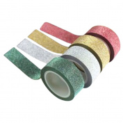 5M 4 Rolls Flash powder Glitter Sticky Paper Masking Tape Ribbon DIY Craft Decor for Party/Festival/Wedding Decoration