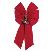 Forum Christmas Giant 5-Loop Bow with Bell Hanging Decoration, Red