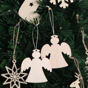 BESTOYARD Wooden Angels Christmas Wooden Hanging Decorations Embellishments for DIY Craft Christmas Tree Home Decor 10pcs