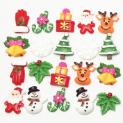 Dandan DIY 20pcs Mix Lots Christmas Tree Snow Bell Resin Flatback Button Art Album Flatback Scrapbooking Embellishments Diy Decoration Scrapbooking Craft Accessory